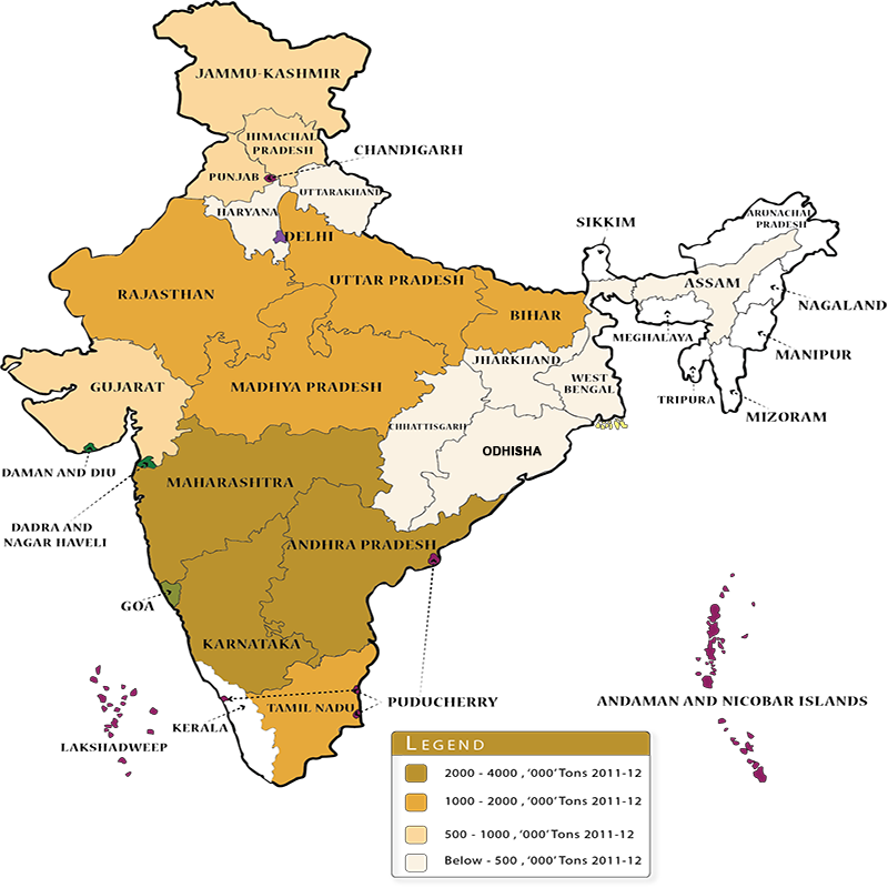 Maize cultivation in India map